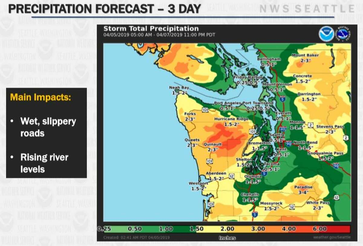 Up to an inch of rain was expected in Seattle.
