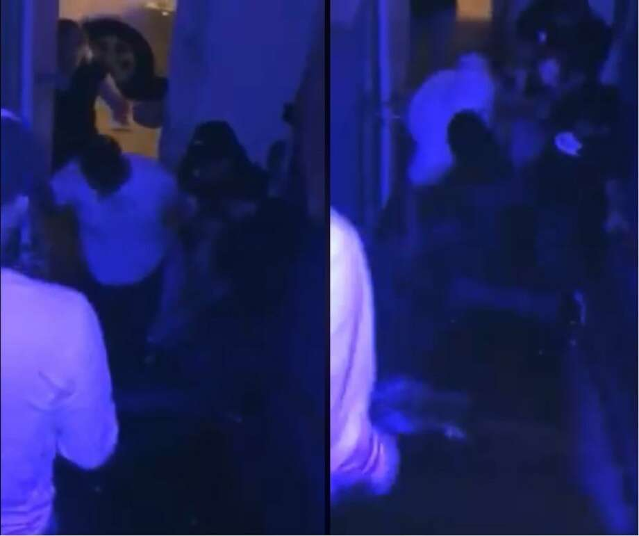 Pictured are screenshots of the video that shows the alleged attack on a local club bouncer because he denied access to two people who did not want to pay the $10 cover. Photo: Screengrabs