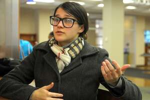 Madeline Guman, of Milford, speaks during an interview at the University of Bridgeport on Monday.