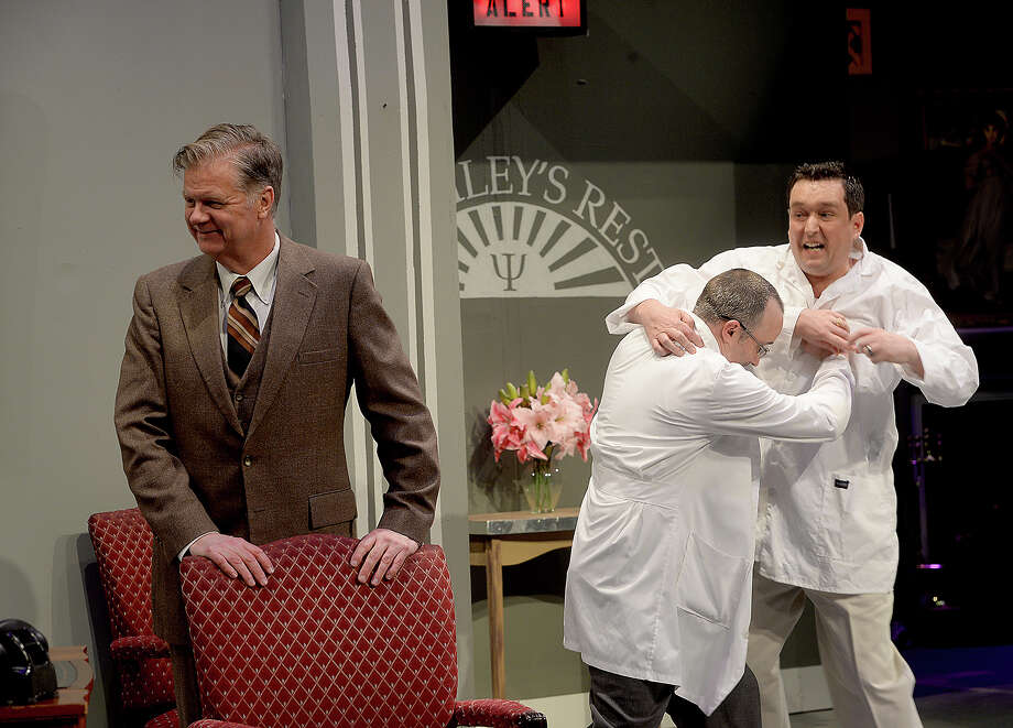 "Beaumont Community Players' James Jackson, Johnathon Hankamer and Andy McCall run through scenes during a videotaped dress rehearsal for their upcoming production of ""Harvey"" onstage at the Betty Greenberg Center for Performing Arts. Photo taken Wednesday, March 27, 2019 Kim Brent/The Enterprise Photo: Kim Brent/The Enterprise"