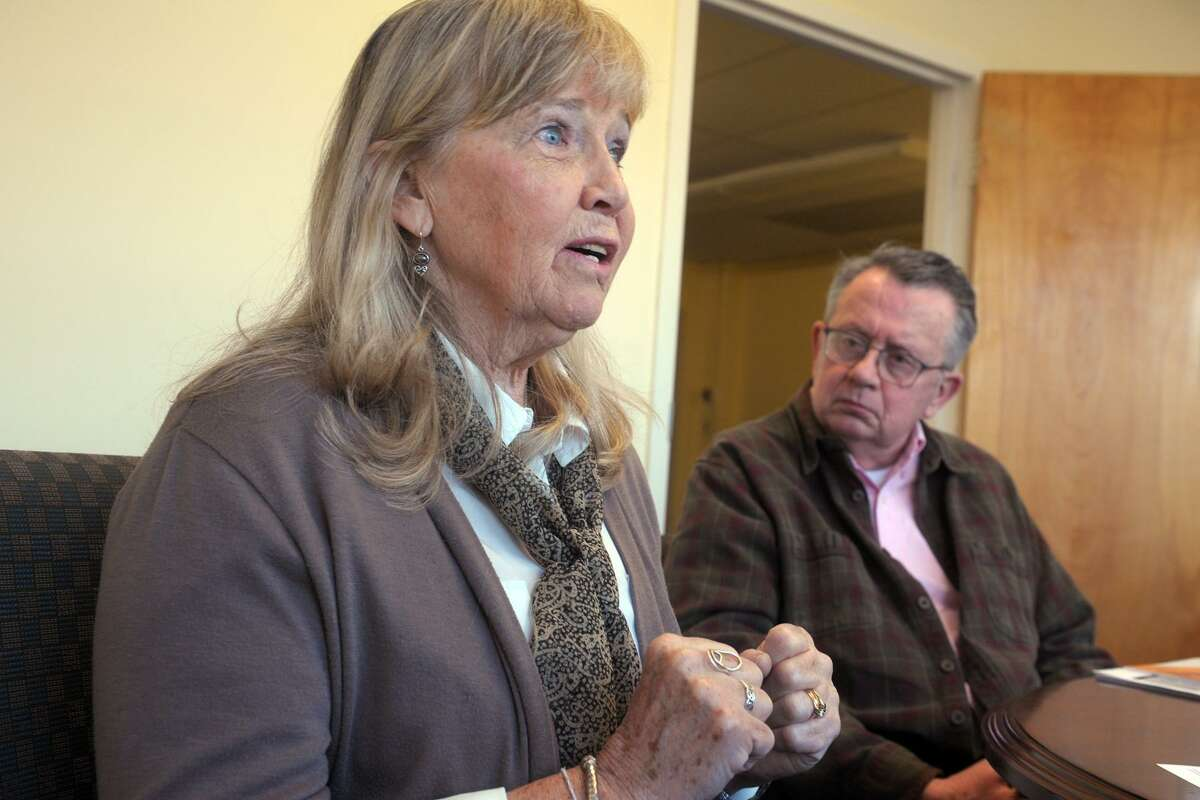 Peggie Frye speaks during an interview at the Catholic Center, headquarters of the Diocese of Bridgeport, in Bridgeport, Conn. April 1, 2019.
