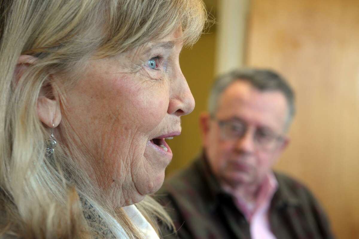 Peggy Fry speaks during an interview at the Catholic Center, headquarters of the Diocese of Bridgeport, in Bridgeport, Conn. April 1, 2019.