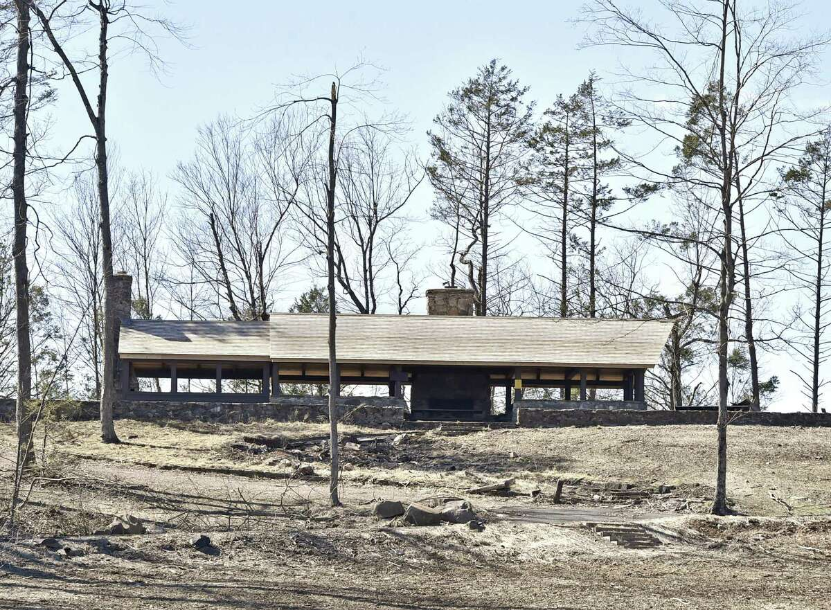 A shelter with a repaired roof at the Sleeping Giant State Park in Hamden on April 1, 2019.