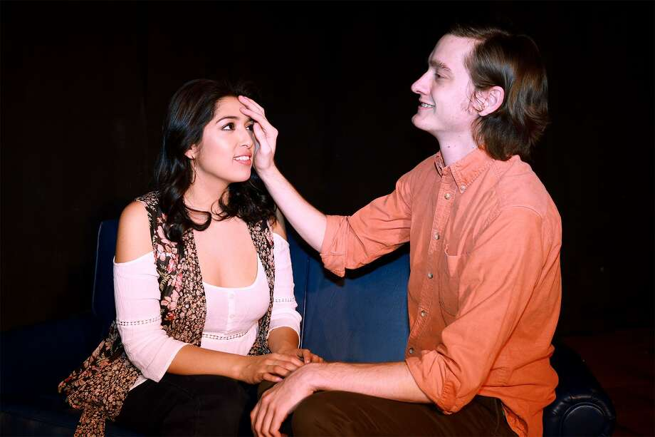 "Don, played by Matt Pridezu,  gets to know his neighbor Jill, played by Lauren Becerra-Gongora, in a scene from ""Butterflies Are Free"" presented by Theatre Southwest. Photo: Scott McWhirter / Scott McWhirter"