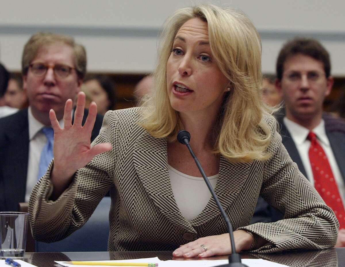 Valerie Plame, a former CIA operative, testifies in 2007 on Capitol Hill in Washington before a U.S. House committee.