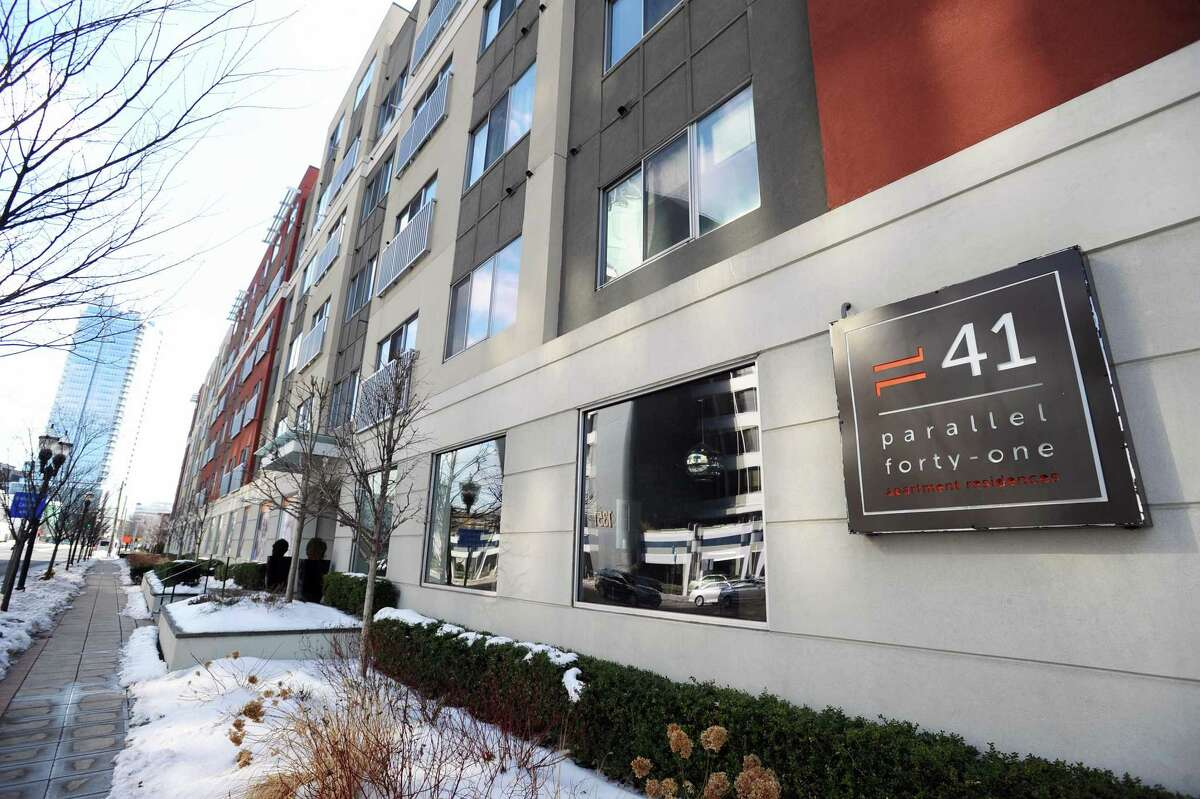 High rise apartment building Parallel 41, located at 1340 Washington Blvd., in downtown Stamford, Conn. on Monday, Feb. 13, 2017.