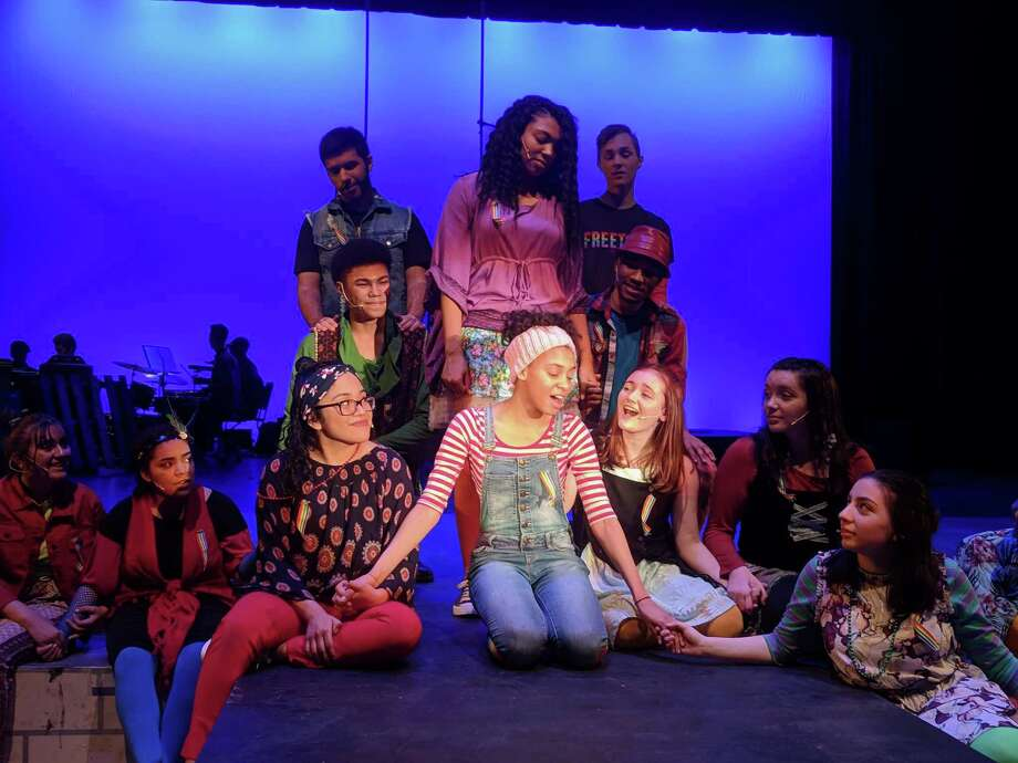 "A scene from ""Godspell,"" which is on stage at Danbury High School through April 6. Photo: Danbury High School / Contributed Photo"