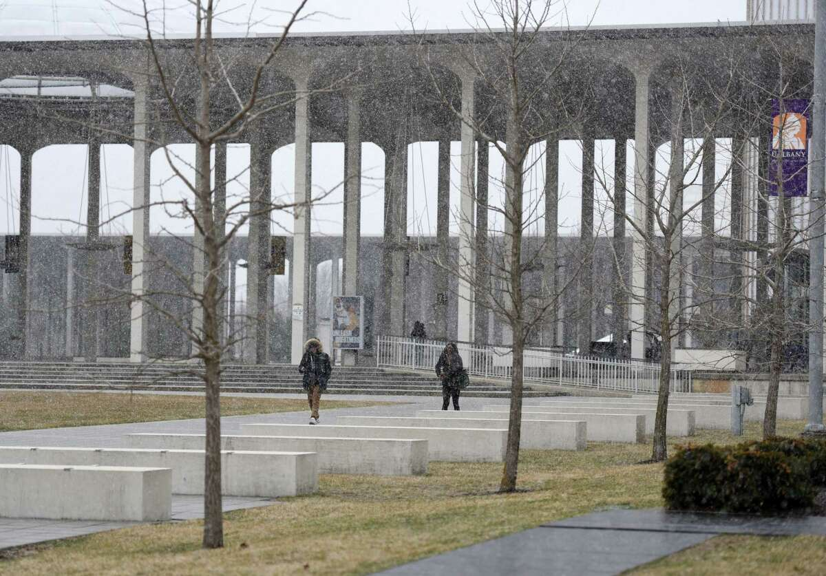 Snow coats the UAlbany campus on Friday, April 5, 2019 in Albany, NY. (Phoebe Sheehan/Times Union)