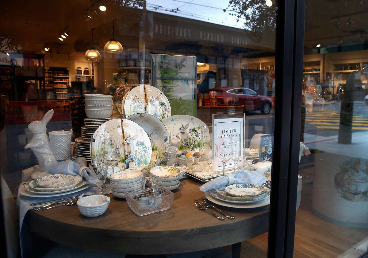 Dishware is displayed in the window of the Williams-Sonoma store on Chestnut Street in San Francisco, Calif. on Thursday, April 4, 2019. The upscale home goods store is looking into alternate sources for some of its merchandise originating from China because of increased tariffs.
