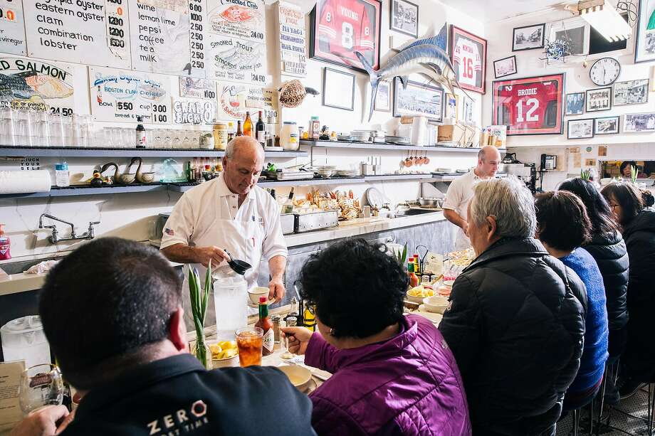Steve Sancimino, left, and Kevin Sancimino work behind the counter at Swan Oyster Depot in San Francisco, Calif. on Tuesday, April 2, 2019. Photo: Stephen Lam, Special To The Chronicle
