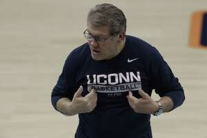 UConn coach Geno Auriemma during a practice session for the women's Final Four NCAA college basketball semifinal game Thursday in Tampa, Fla.
