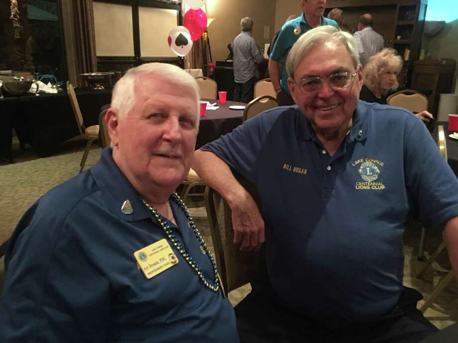 Last week people from all over Montgomery County traveled to Lake Conroe's Walden Yacht Club for Lake Conroe Centennial Lions Club's first Casino Night fundraiser. Enjoying an evening of Black Jack, Texas Hold-Em, Craps, Roulette, slots, great food and great fun were Lake Conroe Centennial Lions Art Drouin and Bill Hogan. Photo: Courtesy Photo