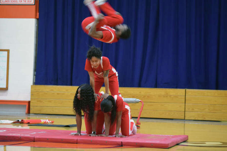 Members of the Jesse White Tumbling Team performed Friday at the Illinois School for the Deaf. Photo: Samantha McDaniel-Ogletree | Journal-Courier