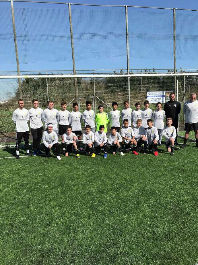 CP Soccer, a tri-state area youth soccer team, made United States history for being the first team of players under 14 years old with cerebral palsy to play a game, participating in a tournament in the United Kingdom. Two boys from Connecticut, including Ramzi Si-Ahmed of Greenwich, participated. Photo: Contributed