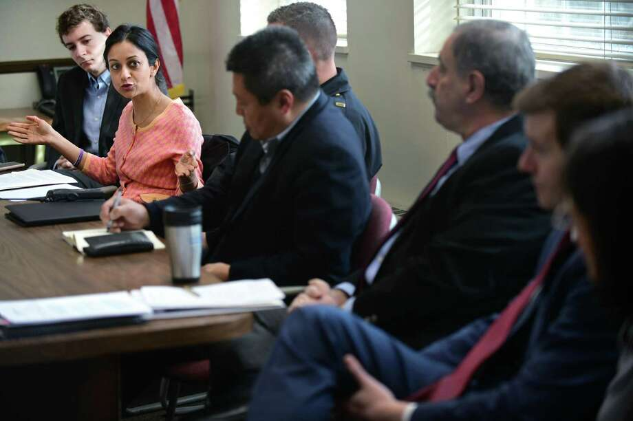 Greenwich resident Dita Bhargava speaks during a roundtable discussion on the opioid crisis with Senator Richard Blumenthal, Congressman Jim Himes, State Senator Will Haskell, State Representative Jonathan Steinberg, and other officials at Westport Town Hall Friday, April 5, 2019, in Westport, Conn. Photo: Erik Trautmann / Hearst Connecticut Media / Norwalk Hour