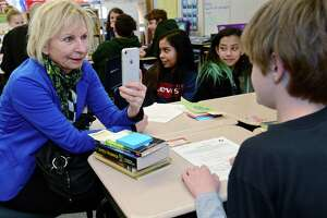 Dr. Gabriele Weigand records 5th grade gifted and talented student Tristan Meyer-Mitchell as educators and education students from Germany and Switzerland visits Cranbury Elementary School to learn about best practices from the gifted and talented programs in Norwalk Public Schools Friday, April 5, 2019, in Norwalk, Conn.
