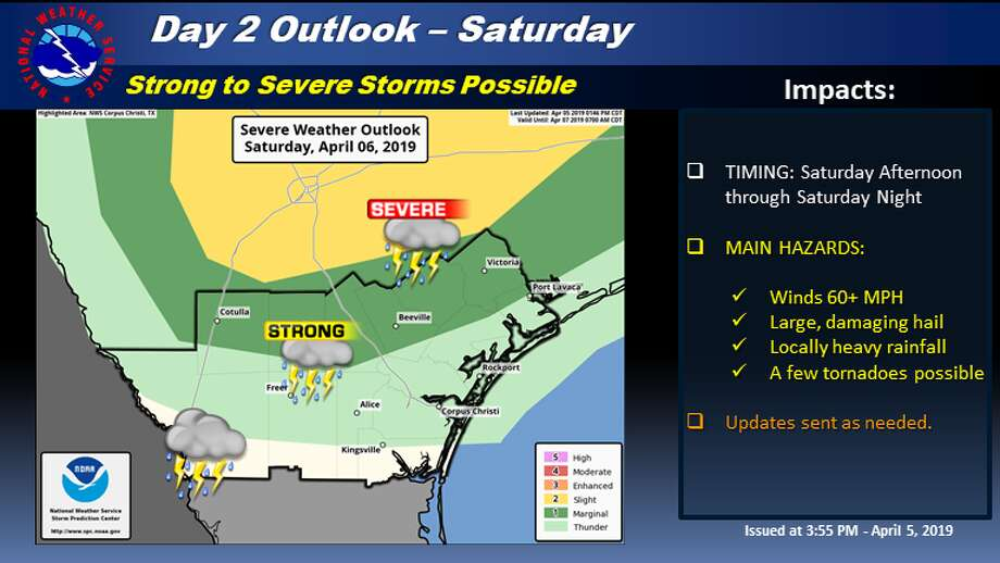 The National Weather Service said that strong to severe storms are possible for much of South Texas beginning as early as Saturday afternoon. Photo: National Weather Service