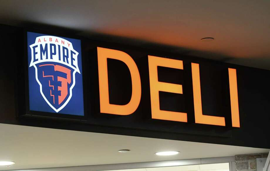 Signage marks the new Empire Deli at Albany International Airport on Friday, April 5, 2019, in Colonie, N.Y. The deli is located near the security gate on the unsecured side. It is branded in conjunction with local Arena Football League team, Albany Empire. (Will Waldron/Times Union) Photo: Will Waldron / 40046596A
