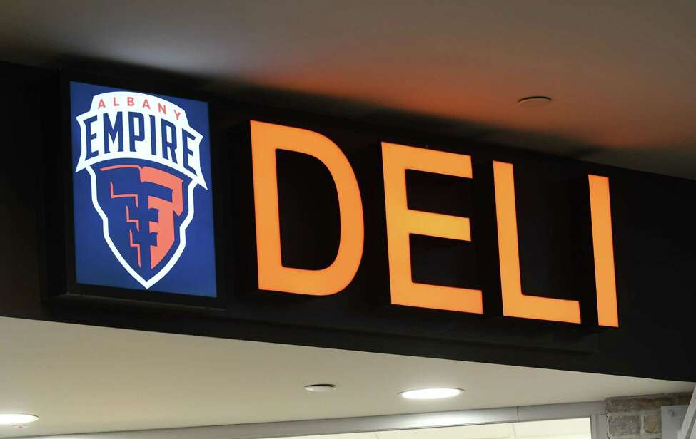 Signage marks the new Empire Deli at Albany International Airport on Friday, April 5, 2019, in Colonie, N.Y. The deli is located near the security gate on the unsecured side. It is branded in conjunction with local Arena Football League team, Albany Empire. (Will Waldron/Times Union)