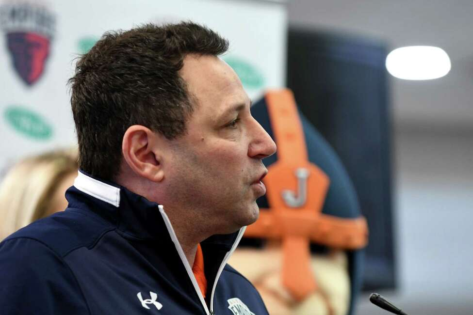 George Manias, chief operating officer of the Albany Empire, speaks during the opening of the new Empire Deli at Albany International Airport on Friday, April 5, 2019, in Colonie, N.Y. The deli is located near the security gate on the unsecured side. It is branded in conjunction with local Arena Football League team, Albany Empire. (Will Waldron/Times Union)