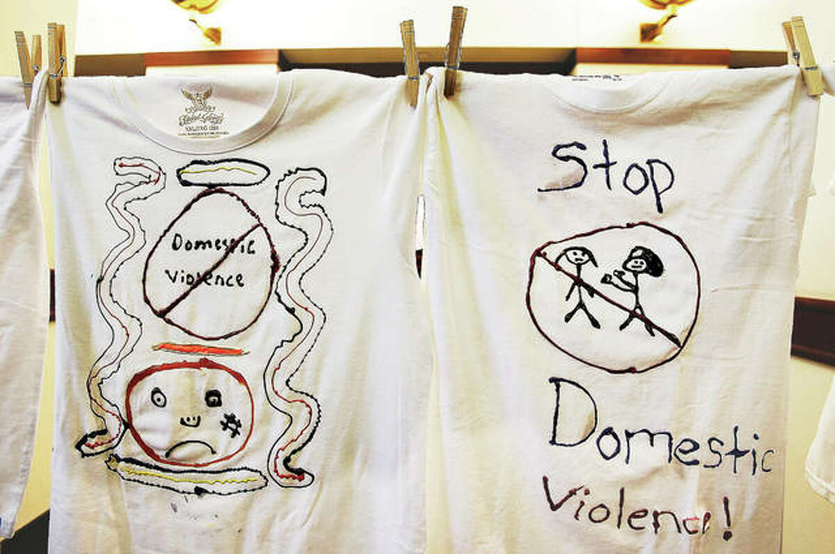 T-shirts decorated by victims of domestic violence, including children, were on display again this year from the Oasis Women's Center Clothesline Project.