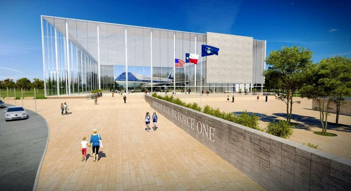 The George and Barbara Bush Foundation has requested that the George H.W. Bush Presidential Library and Museum in College Station become the permanent location to display the Air Force One plane that once transported George H.W. Bush around the world for his diplomatic mission. The renderings, here, show a building largely made of glass to exhibit the plane, which will be retired in 2025. Plans feature an event space and exhibits related to the plane for visitors, who would also get to board the plane.