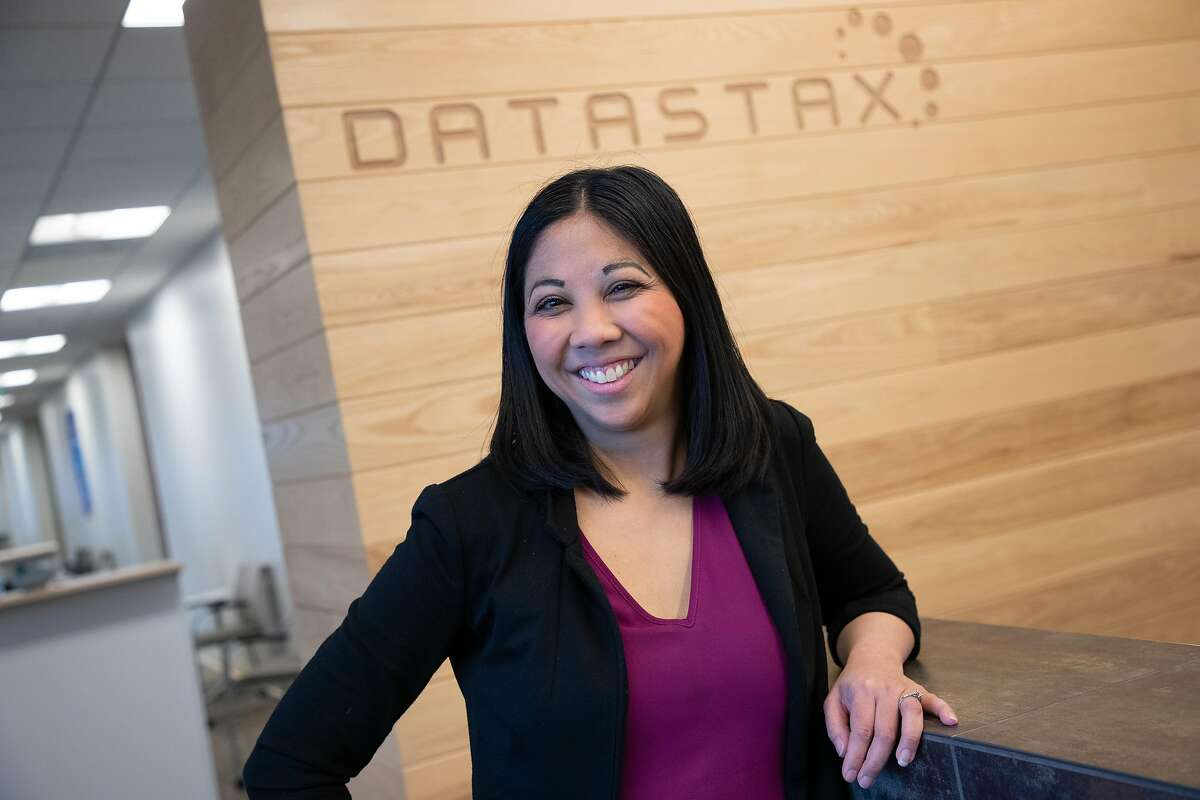 Lynsey Reyes-Nickel poses for a portrait at Datastax on Friday, April 5, 2019, in Santa Clara, Calif. After taking four years off work to care for her sick newborn, then her sick husband, Reyes-Nickel found it hard to get back to work because the gap in her resume worried recruiters. She finally participated in a returnship at Datastax. one month into the four-month internship, she was offered a full-time job at the company.