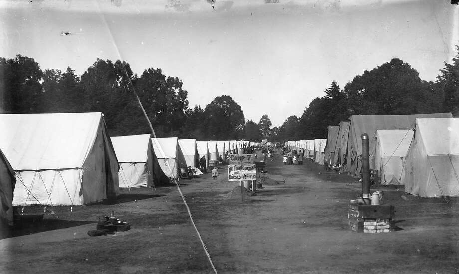 A tent camp in Golden Gate Park, April 1906, after the Earthquake and fire. Photo: Chronicle Archive 1906