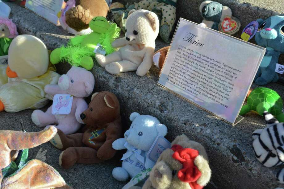 Each stuffed animal represents a sexual violence victim. In 2017, 78 children received support from the Susan B. Anthony Project. The stuffed animals were displayed at the 2017 domestic violence awareness vigil in Torrington. This year's vigil will be held on Oct. 23 at Coe Memorial Park in Torrington. Photo: Leslie Hutchison / Hearst Connecticut Media