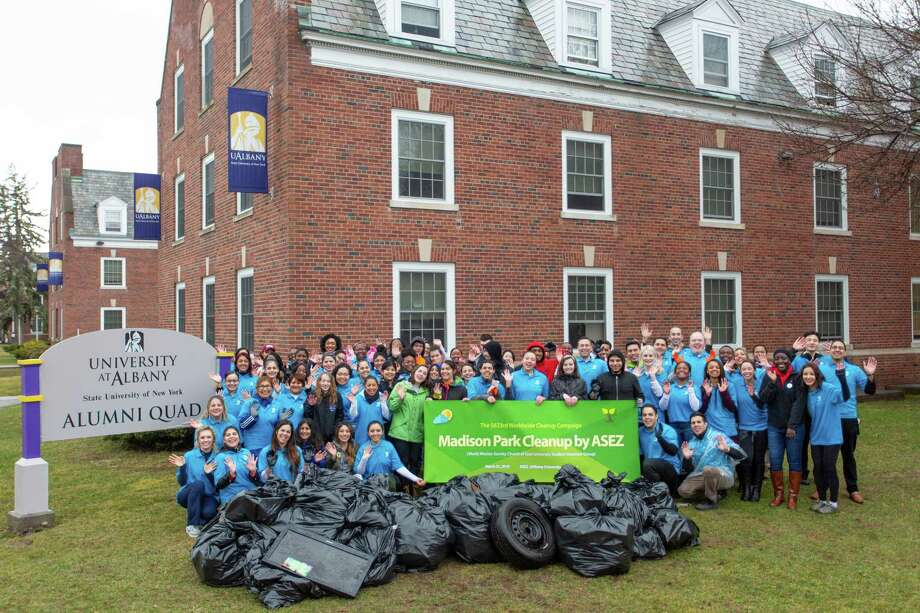 On March 31 about 80 ASEZ (Save the Earth from A to Z) volunteers cleaned and spruced up Ontario St, Hamilton St, Hudson Ave, Quail St, & Western Ave. (Photo provided)