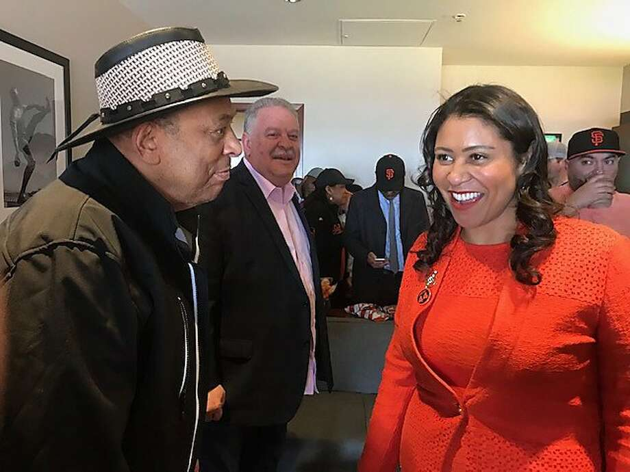 Orlando Cepeda being greeted by Mayor London Breed on Opening Day. Photo: Leah Garchik / The Chronicle