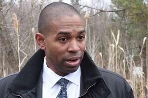 Congressman Antonio Delgado speaks to the press at the Dewey Loeffel superfund site on Friday April 5, 2019 in Nassau, N.Y. Federal investigators found PCBs, carcinogenic industrial solvents and other chemicals contaminating the family property of Dewey Loeffel, who ran the landfill during the 1950s and '60s that still leaks dangerous toxins. (Lori Van Buren/Times Union)