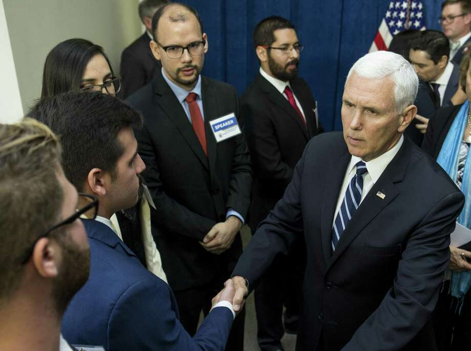 Vice President Mike Pence greets displaced Venezuelans before speaking on the crisis in Venezuela at Rice University's Baker Institute for Public Policy on Friday, April 5, 2019, in Houston. Photo: Brett Coomer, Houston Chronicle / Staff Photographer / © 2019 Houston Chronicle