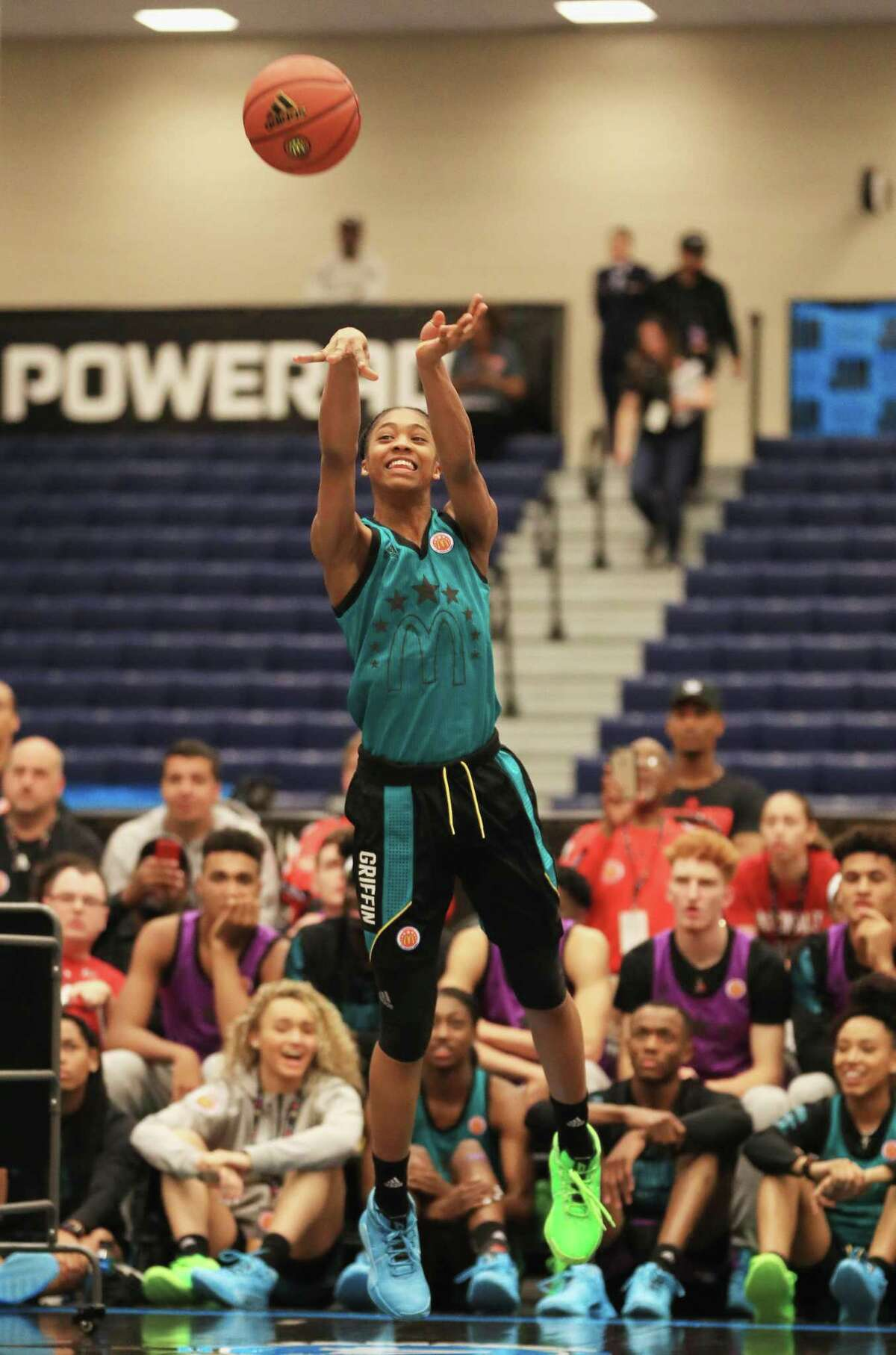 UConn-commit Aubrey Griffin competes in the Legends & Stars Shootout during the 2019 Powerade Jam Fest on March 25 in Marietta, Georgia.