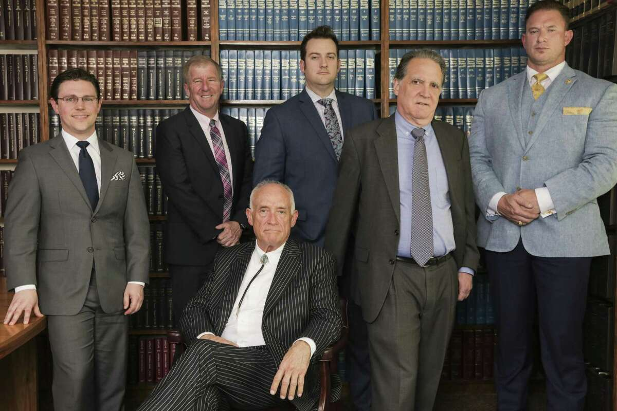 Lawyers Wade Smith, from left, Tucker Graves, Paul Looney, Romy Kaplan, Clay Conrad and Mark Metzger III, provided free legal representation to some of the defendants in the infamous Waco shootout at the Twin Peaks restaurant almost four years ago. All remaining charges were dismissed on Tuesday, April 2, 2019.