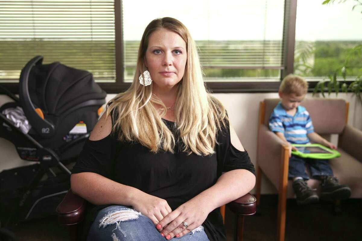 Morgan English, shown here on April 3, 2019 at her lawyer's office, and her husband William were two of the defendants caught up in the infamous Waco shootout at the Twin Peaks restaurant three years ago. They arrived that day in May 2015 in their family sedan expecting a session on motorcycle legislation. They were arrested but never charged.
