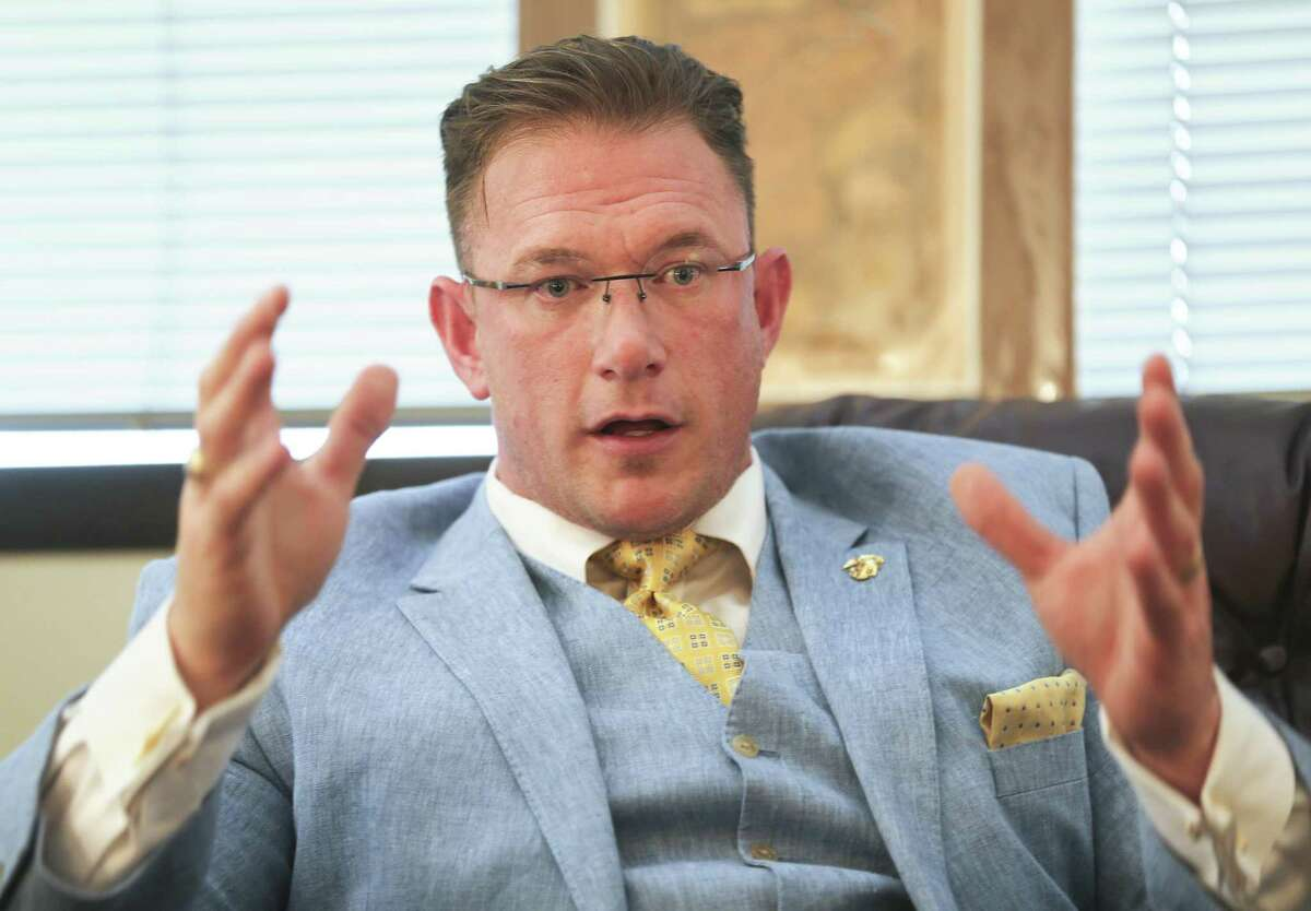 Houston lawyer Mark Metzger III talks about the charges being dismissed in the infamous Waco shootout at the Twin Peaks restaurant three years ago. He is shown here in attorney Paul Looney's office on Wednesday, April 3, 2019, in Houston.