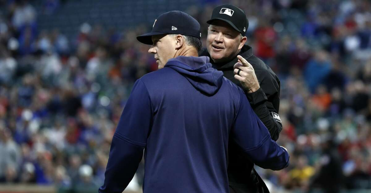 PHOTOS: Astros game-by-game Houston Astros manager AJ Hinch (14) and umpire Ron Kulpa argue during a baseball game against the Texas Rangers in Arlington, Texas, Wednesday, April 3, 2019. (AP Photo/Tony Gutierrez) Browse through the photos to see how the Astros have fared in each game this season.