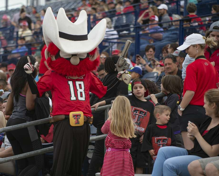 Texas Tech's Roper Red takes pictures with fans 04/05/19 at the annual football scrimmage at Grande Communications Stadium. Tim Fischer/Reporter-Telegram Photo: Tim Fischer/Midland Reporter-Telegram