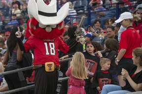 Texas Tech's Roper Red takes pictures with fans 04/05/19 at the annual football scrimmage at Grande Communications Stadium. Tim Fischer/Reporter-Telegram