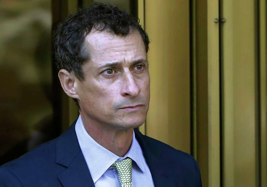 FILE - In this Sept. 25, 2017 file photo, former Congressman Anthony Weiner leaves federal court following his sentencing in New York.  Weiner has been ordered to register as a sex offender as he nears the end of a 21-month prison sentence for having illicit online contact with a 15-year-old girl. A New York City judge on Friday, April 5, 2019, designated Weiner a Level 1 sex offender, meaning he's thought to have a low risk of reoffending. (AP Photo/Mark Lennihan, File) Photo: Mark Lennihan / Copyright 2017 The Associated Press. All rights reserved.