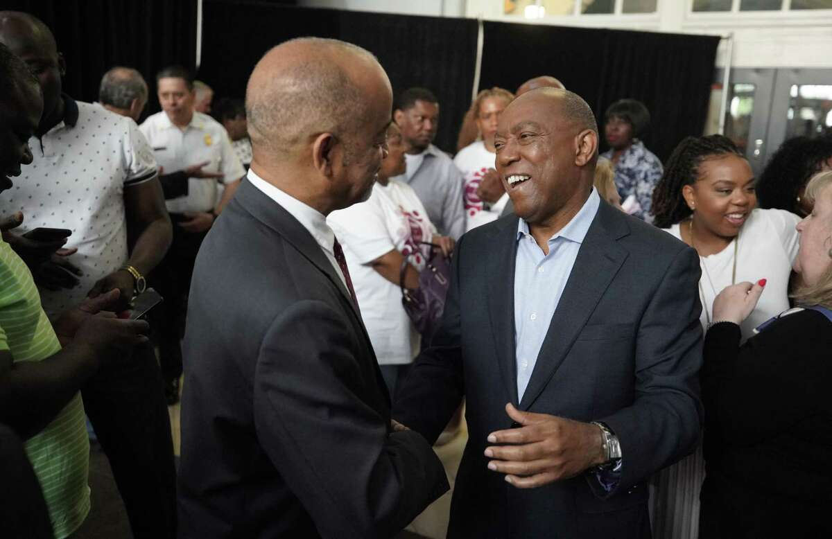 Houston Mayor Sylvester Turner greets supporters during his re-election campaign launch event Saturday, March 30, 2019, at Union Station in Minute Maid Park.