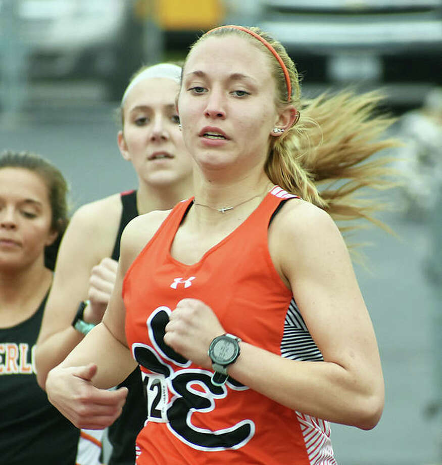 Edwardsville's Elise Krone competes in the 1,600-meter run at the Triad Lady Knight Invitational on Friday in Troy. Photo: Matt Kamp/The Intelligencer