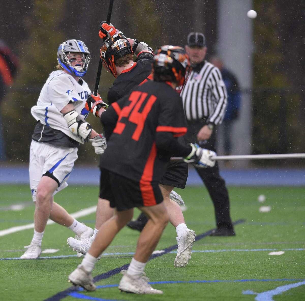 Darien defeated Ridgefield 14-6 in a boys lacrosse match at Darien High School Friday, April 5 ,2019 in Darien, Connecticut.