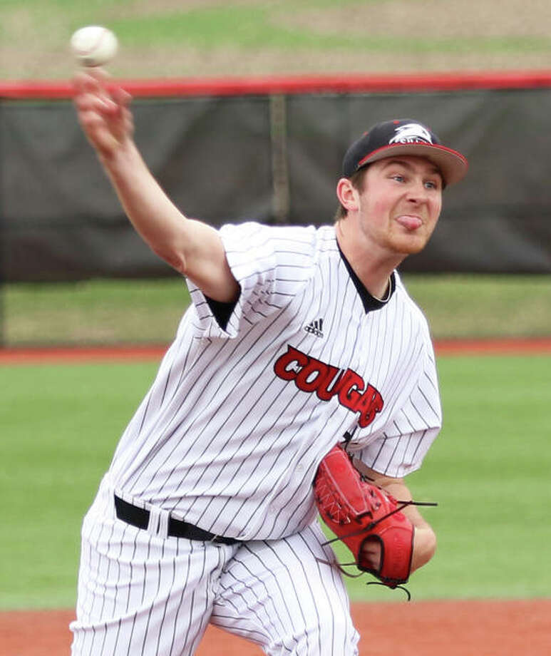 SIUE pitcher Collin Baumgartner, shown in his start last Friday in Edwardsville, was back on the mound Friday as the Cougars' starter at Morehead State. Baumgartner is a sophomore from Brighton. Photo: Greg Shashack / Hearst Newspapers