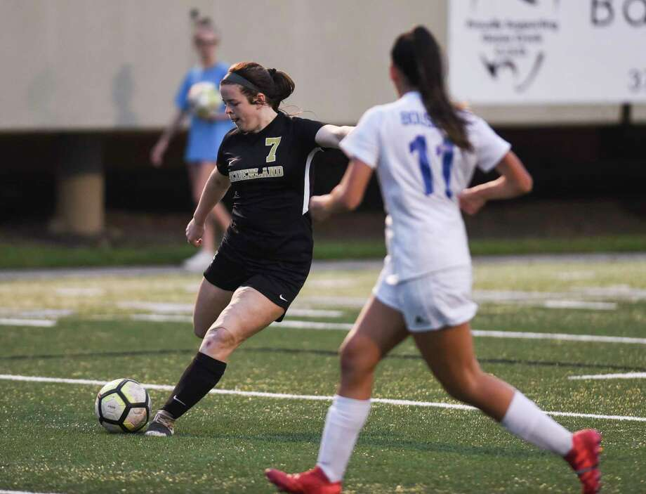 Nederland's Brynn Landry takes a shot on goal during the game against Friendswood at Stallworth Stadium Friday night. Photo taken on Friday. Ryan Welch/The Enterprise Photo: Ryan Welch, The Enterprise / ©Ryan Welch