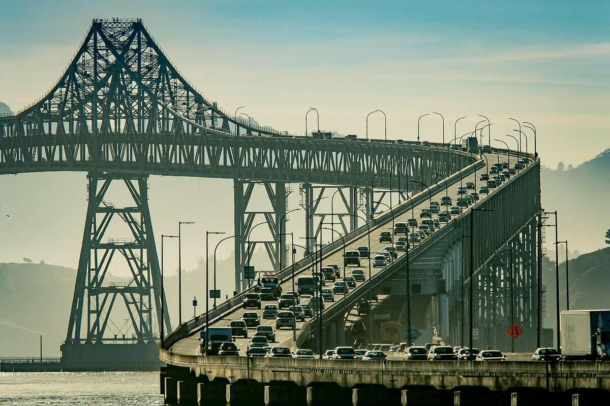 FILE - Vehicles on the Richmond-San Rafael Bridge during rush hour in San Rafael in this March 29th, 2018 file photo.