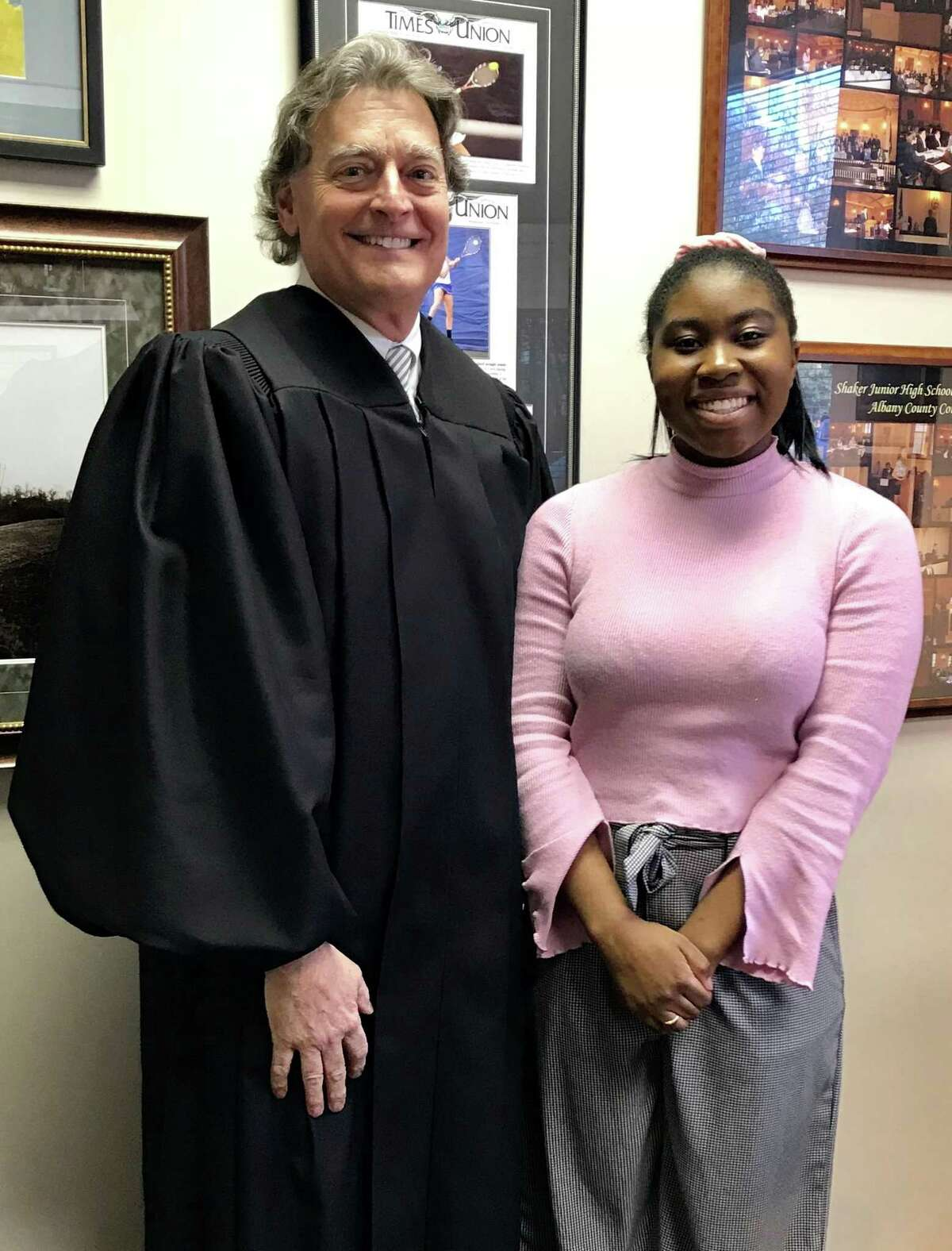 Tattiahna Welch of Albany in Chambers with Senior Colonie Town Judge and Court Administrator Peter G. Crummey before sitting with the judge during a court session on April 1. Welch is an undergraduate student at SUNY Purchase and is interested in the practice of law. She first met the judge while in high school as a member of the mock trial team of the Albany Academies. (Courtesy Peter Crummey)