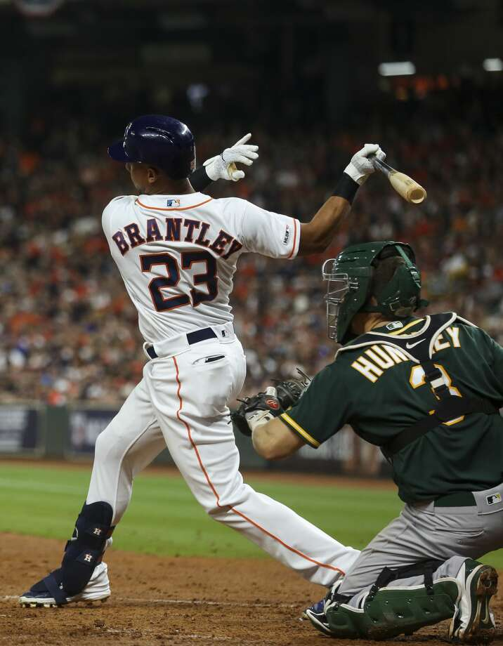 Houston Astros left fielder Michael Brantley (23) strikes out to end the third inning against the Oakland Athletics of an MLB game at Minute Maid Park Friday, April 5, 2019, in Houston. Photo: Godofredo A Vásquez/Staff Photographer