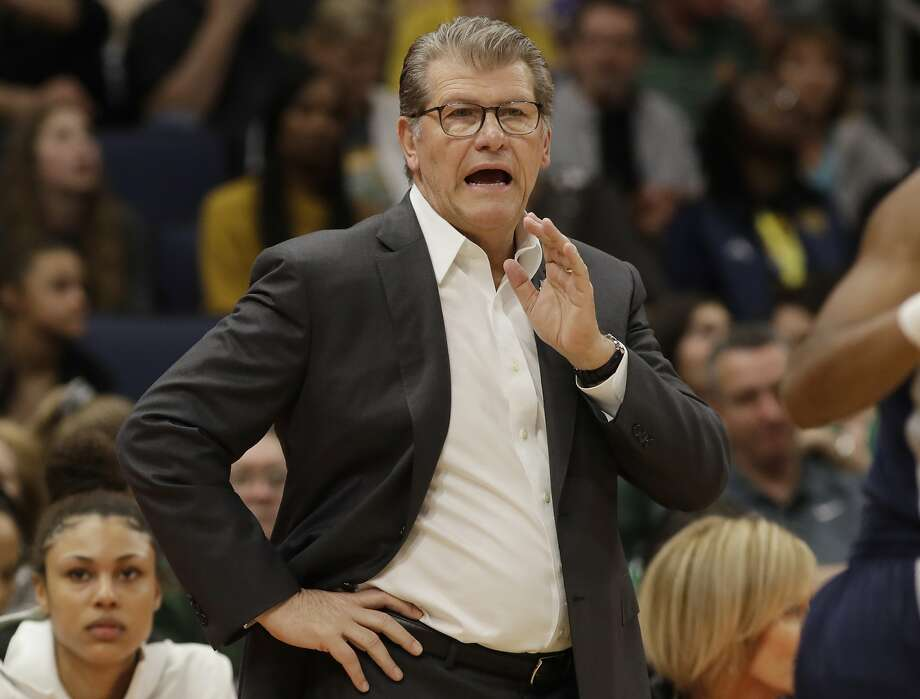 Connecticut head coach Geno Auriemma gestures to his team during the first half of a women's Final Four NCAA college basketball semifinal tournament game against Notre Dame, Friday, April 5, 2019, in Tampa, Fla. (AP Photo/Chris O'Meara) Photo: Chris O'Meara, Associated Press